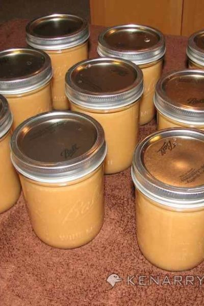 Filled applesauce jars