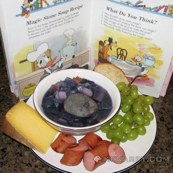 "Magic Stone Soup, based on the book ""Donald's Magic Stone"" is surprisingly tasty, purple and fun to make, a great dinner for Halloween, a homeschool lesson on purple or for anyone who likes cabbage. - Kenarry.com"