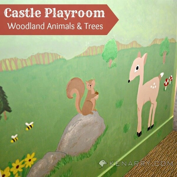 Castle Playroom Woodland Mural: Painting Animals and Trees