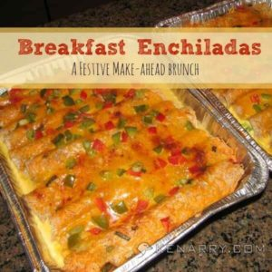 a pan of breakfast enchiladas