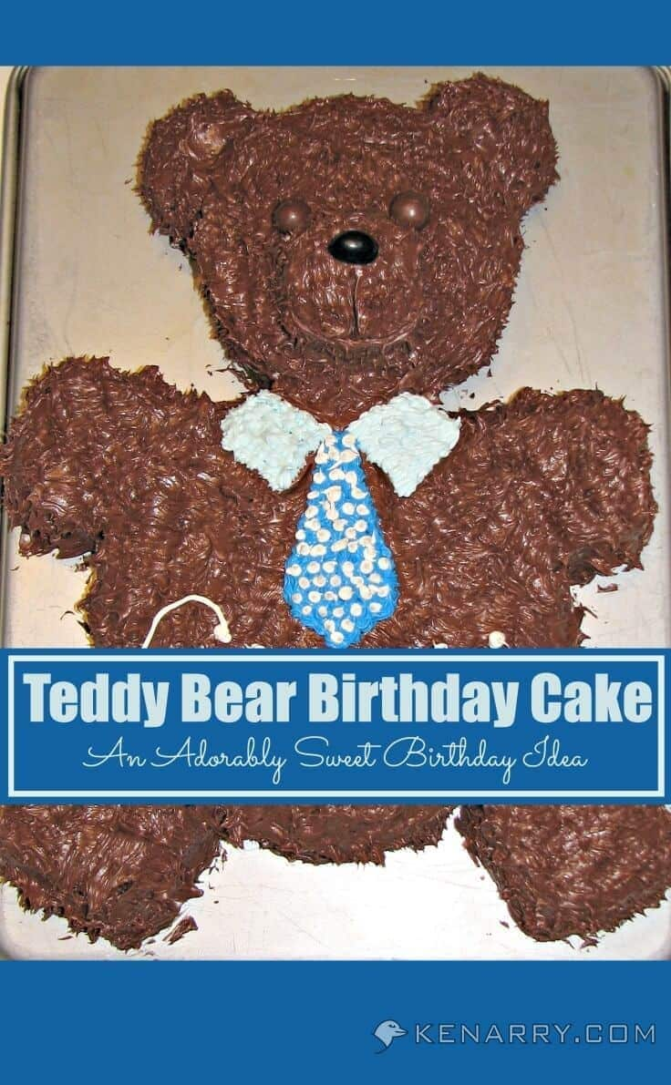 What a cute bear cake! This teddy bear is adorable for a kid's birthday party.