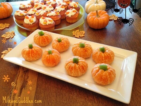 Orange Pumpkins - Milk and Cuddles - Halloween Fun Food Ideas on Kenarry.com