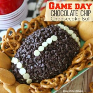 Impress your guests with this Game Day Chocolate Chip Cheesecake Ball. It's a perfect way to satisfy your sweet tooth while cheering on your favorite team!