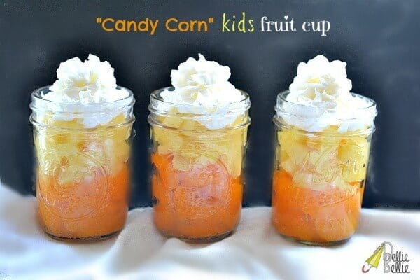 Candy Corn Fruit Cup - Nellie Bellie - Halloween Fun Food Ideas on Kenarry.com