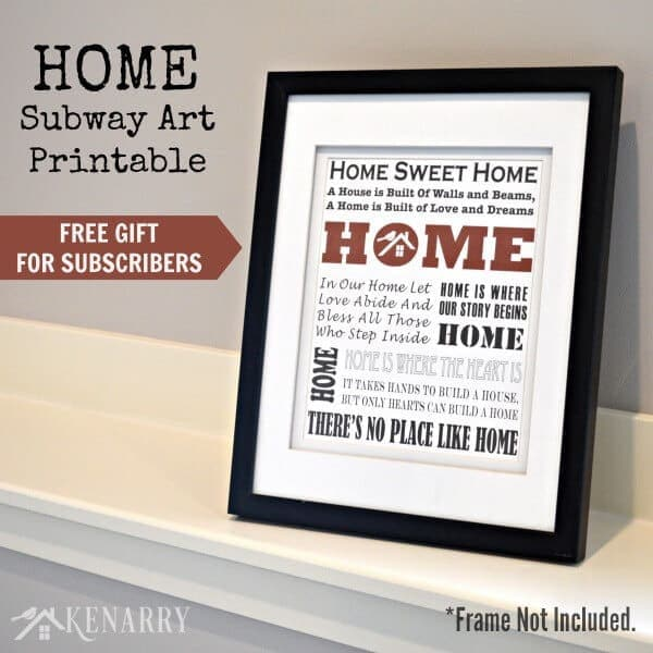 graphic regarding Gift Not Included Printable called House Subway Artwork Printable: Free of charge Reward for Subscribers