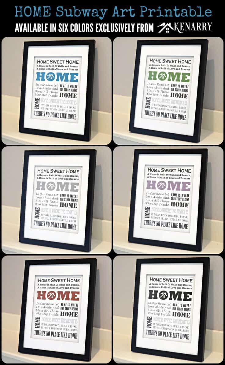 Home Subway Art Printable: Free Gift for Subscribers Available in Six Colors Exclusively from Kenarry