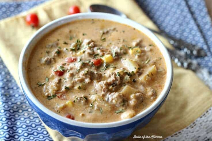 Warm up after a long day with this easy and delicious Crockpot Cheeseburger Soup, made with plenty of real food ingredients. It's pure winter time comfort food that your whole family will love.