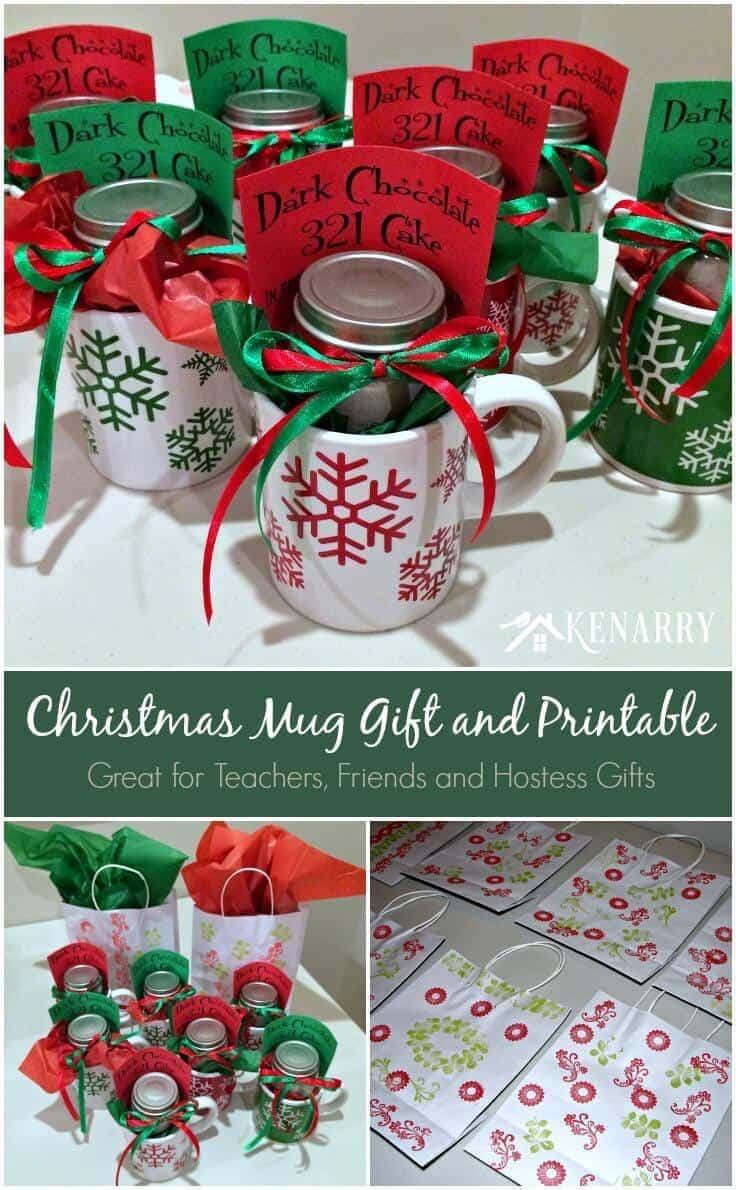 Christmas Mug Teacher Gift with Free Printable