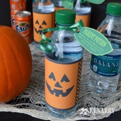 Halloween Dasani Water Bottle Pumpkins - Free Printable - #SpookySnacks - Kenarry.com