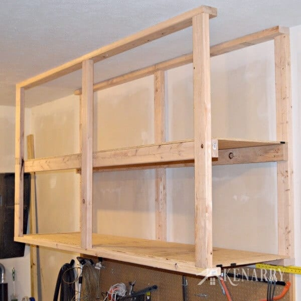Diy garage storage ceiling mounted shelves giveaway for Diy garage storage loft