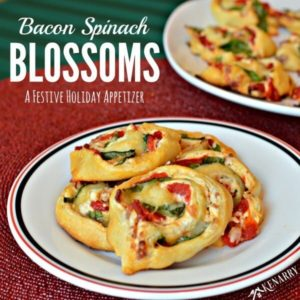 Great for Christmas cocktail parties - Bacon Spinach Blossoms with roasted red peppers and Italian cheeses are a festive holiday appetizer.