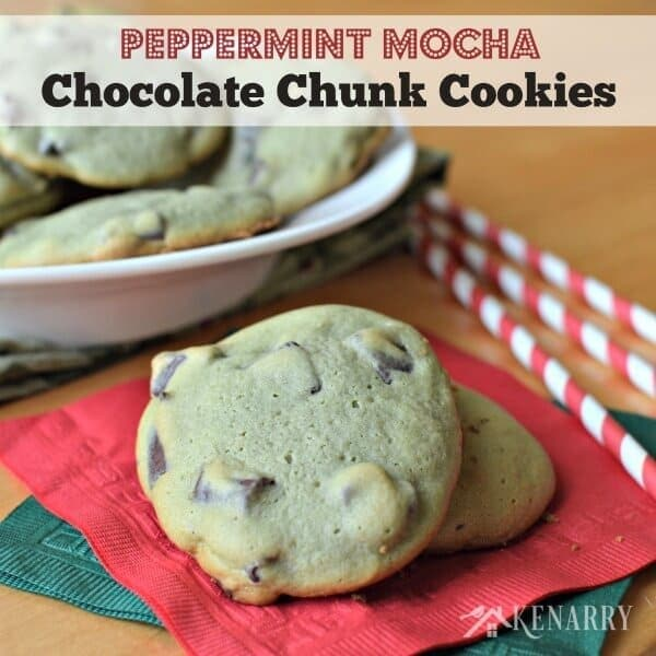 Delicious Peppermint Mocha Chocolate Chunk Cookies - perfect for a Christmas dessert or holiday cookie exchange!