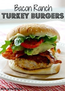 Bacon Ranch Turkey Burgers from Belle of the Kitchen