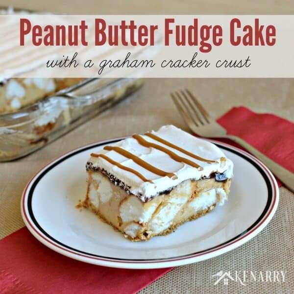 Yum! Peanut Butter Fudge Cake with a graham cracker crust is a great dessert if you're looking for delicious family holiday ideas or hosting a party with friends.
