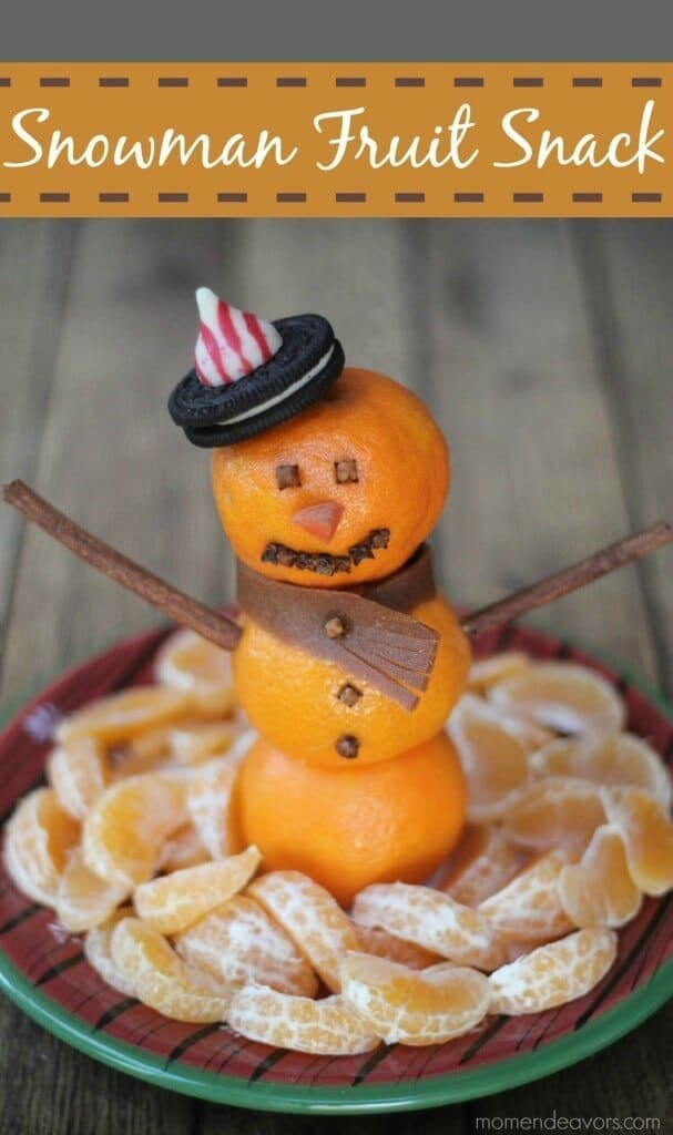 Snowman Fruit Snack - Mom Endeavors featured on Ideas for the Home by Kenarry™