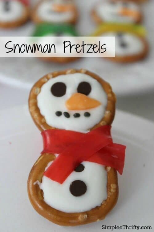 Snowman Pretzels - Simplee Thrifty featured on Kenarry: Ideas for the Home