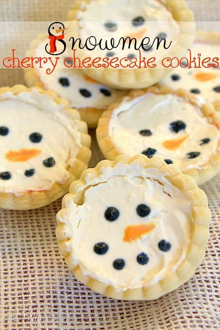 Snowmen Cherry Cheesecake Cookies - This Silly Girl's Life featured on Ideas for the Home by Kenarry™