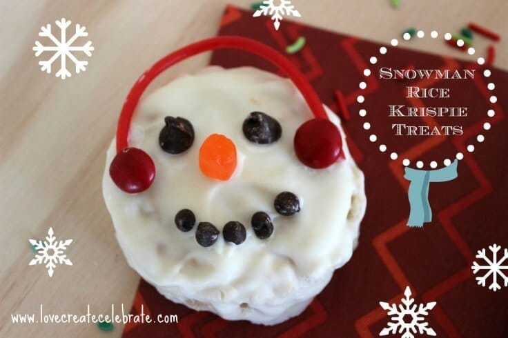 Winter Rice Krispie Snowman Treats - Love Create Celebrate featured on Ideas for the Home by Kenarry™