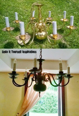 Updated Brass Chandelier from Redo It Yourself Inspirations featured on Kenarry: Ideas for the Home