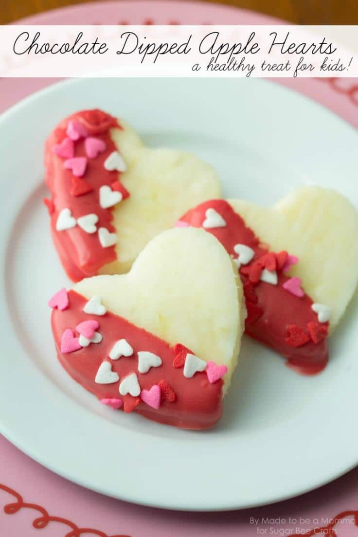 Chocolate Dipped Apple Hearts: Kids Treat - Sugar Bee Crafts featured on Kenarry: Ideas for the Home