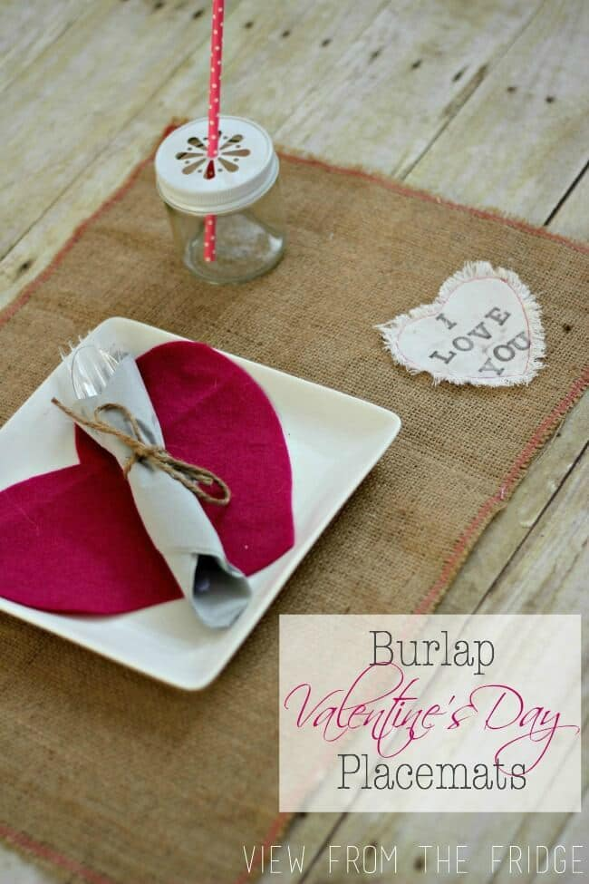 DIY Burlap Placemats for Valentine's Day - View From the Fridge featured on Kenarry: Ideas for the Home