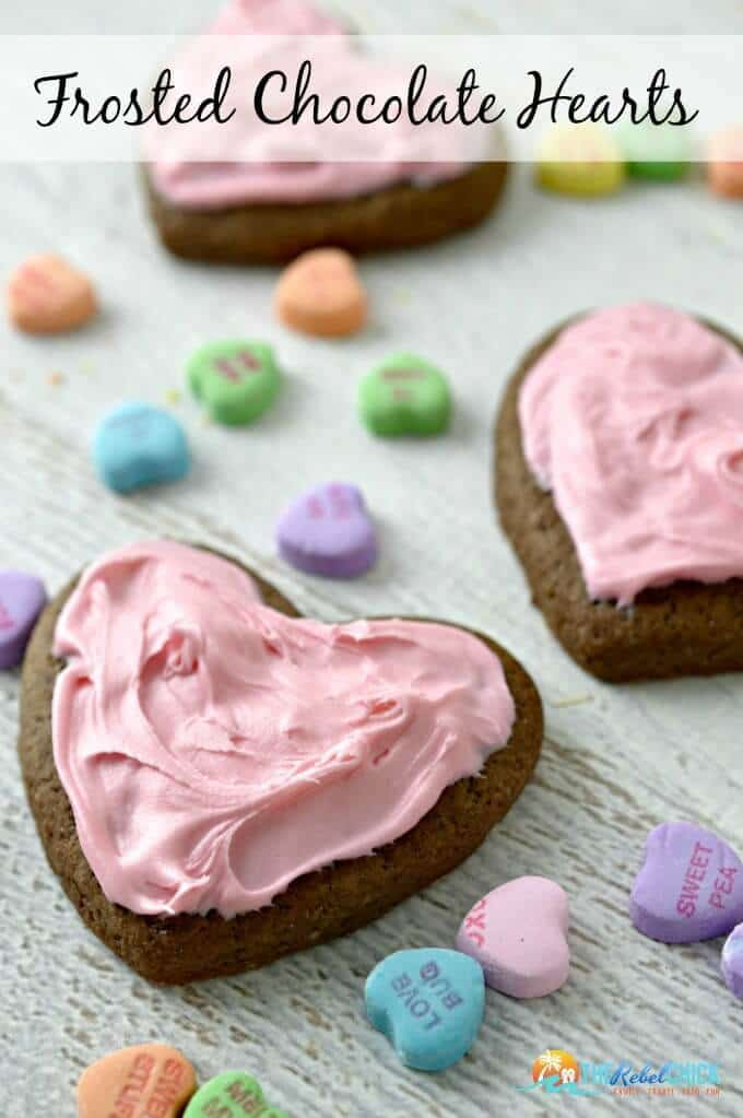 Valentine's Day Frosted Chocolate Heart Cookies Recipe - The Rebel Chick featured on Ideas for the Home by Kenarry™