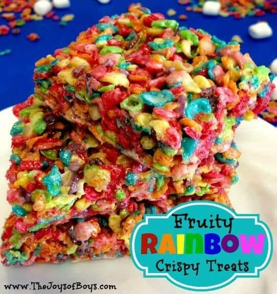 Fruity Rainbow Crispy Treats - The Joys of Boys featured on Kenarry: Ideas for the Home