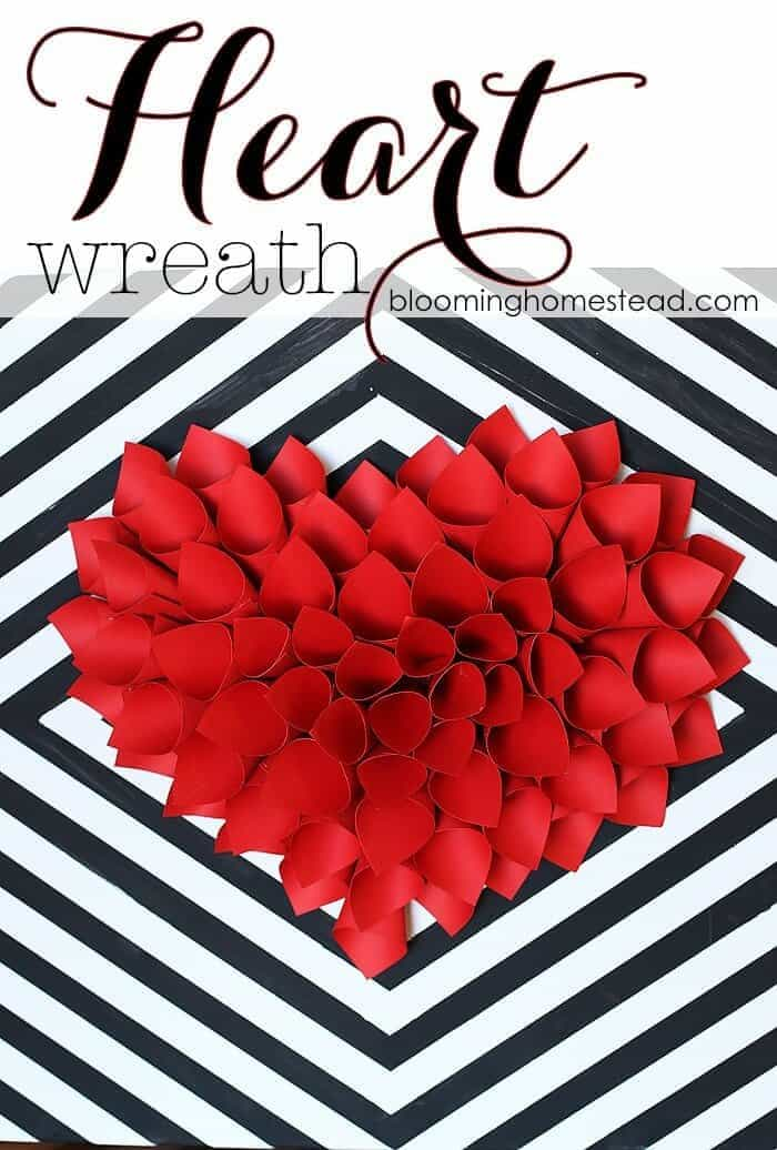 DIY Paper Heart Wreath - A Blooming Homestead featured on Kenarry: Ideas for the Home
