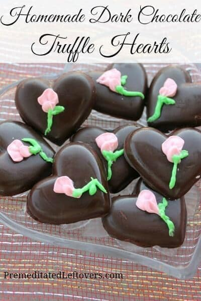 Dark Chocolate Truffle Hearts - Premeditated Leftovers featured on Ideas for the Home by Kenarry™