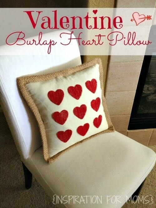 Valentine Burlap Heart Pillow - Inspiration for Moms featured on Kenarry: Ideas for the Home