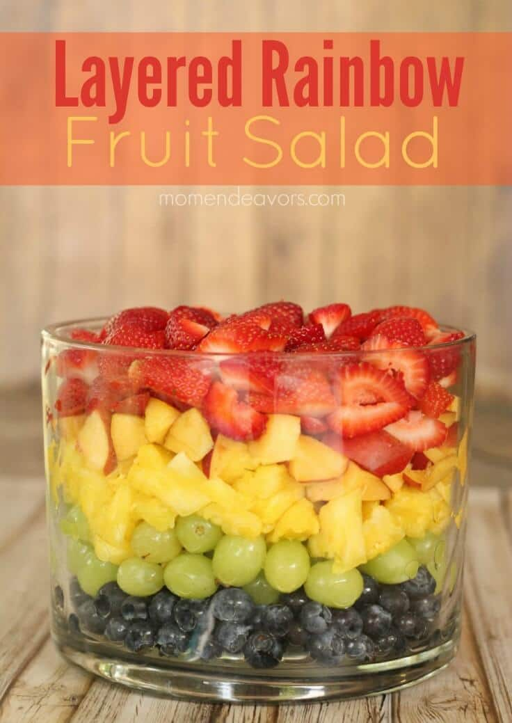 Layered Rainbow Fruit Salad - Mom Endeavors featured on Ideas for the Home by Kenarry®
