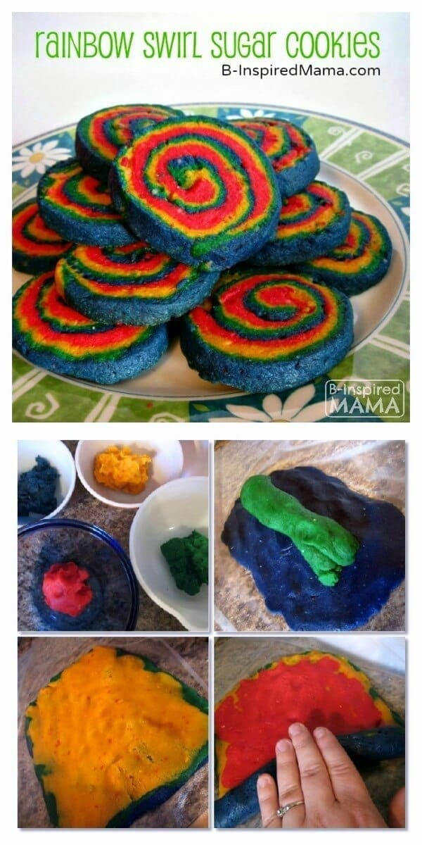 Rainbow Swirl Sugar Cookies - B-Inspired Mama featured on Kenarry: Ideas for the Home