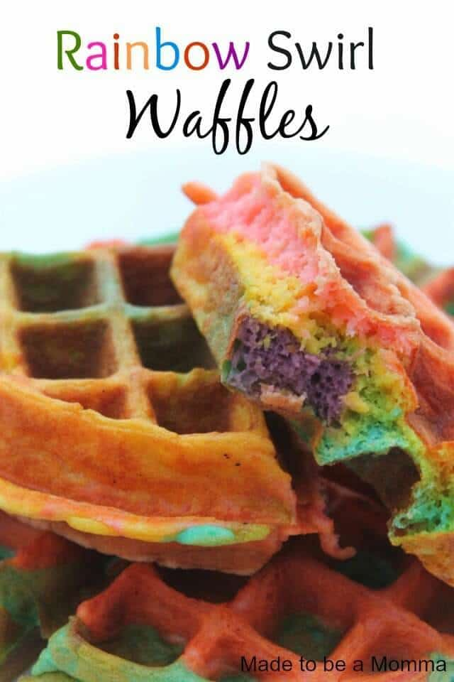 Rainbow Swirl Waffles - Made to Be a Momma for Sugar Bee Crafts featured on Ideas for the Home by Kenarry®