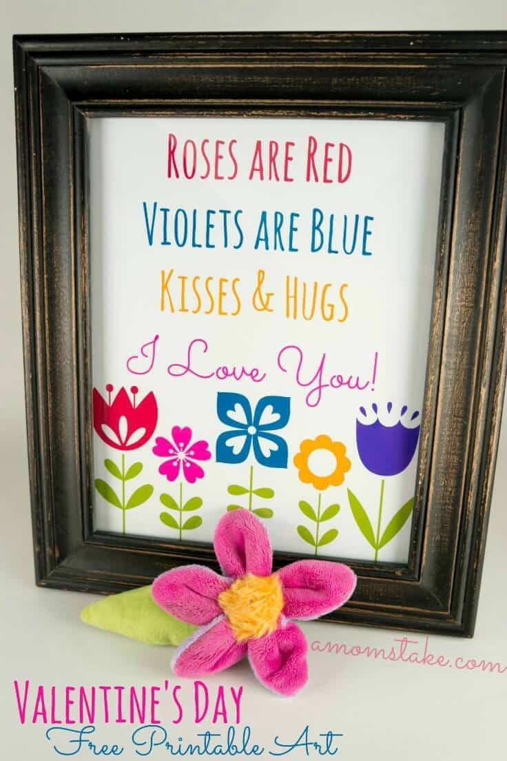 Roses Are Red... Valentine's Day Printable Art - A Mom's Take featured on Kenarry: Ideas for the Home