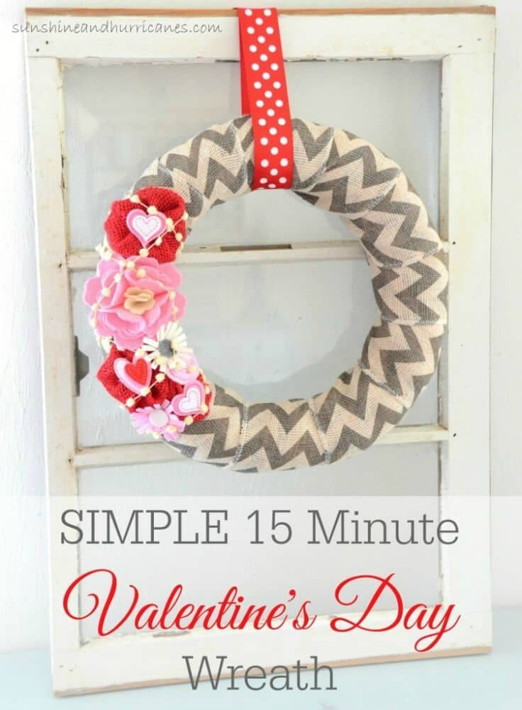 Simple 15 Minute Valentine's Day Wreath - Sunshine and Hurricanes featured on Kenarry: Ideas for the Home