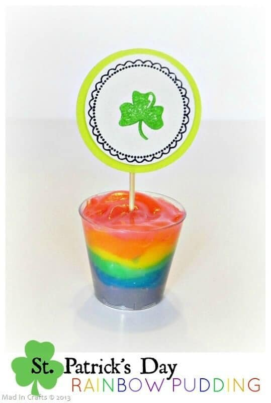 Rainbow Pudding for St. Patrick's Day - Mad in Crafts featured on Ideas for the Home by Kenarry®