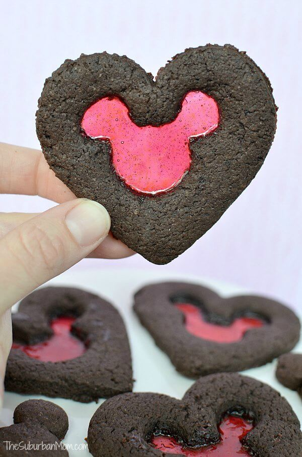 Valentine's Day Stained Glass Mickey Mouse Cookies - The Suburban Mom featured on Kenarry: Ideas for the Home