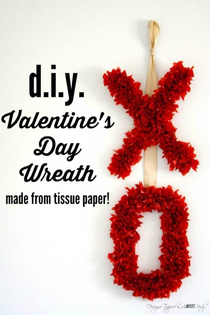 DIY Valentine's Day Wreath - Designer Trapped in a Lawyer's Body featured on Kenarry: Ideas for the Home