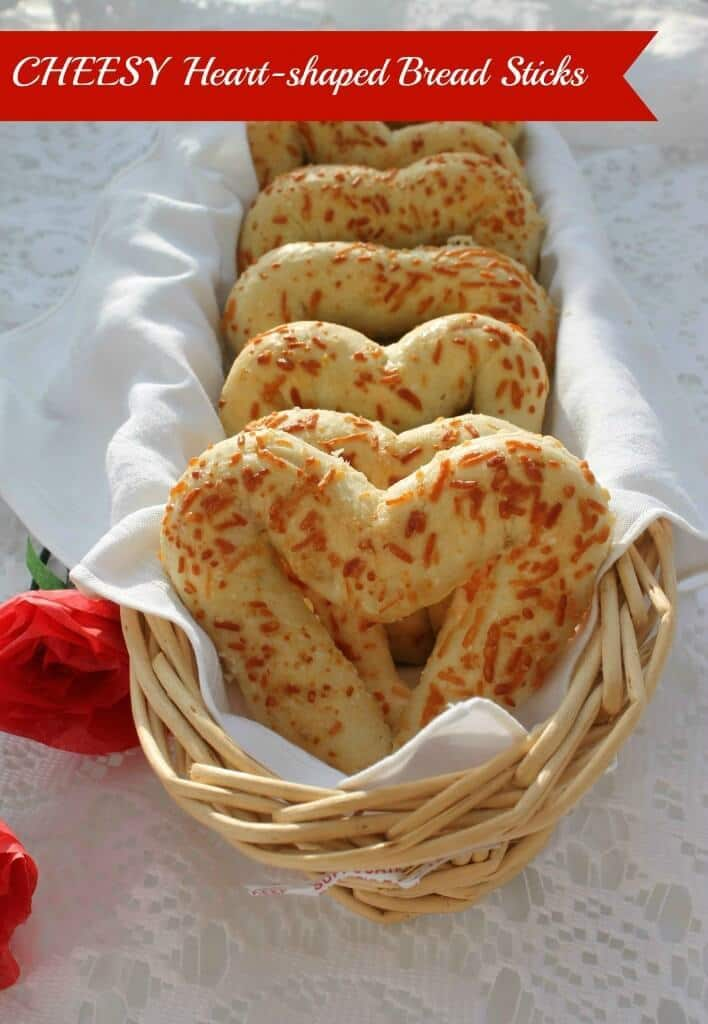 Cheesy Heart-shaped Bread Sticks - Sisters Saving Cents featured on Kenarry: Ideas for the Home