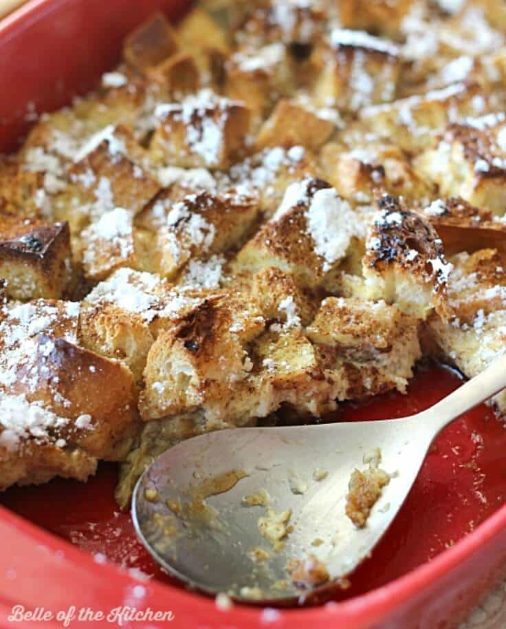 French toast casserole in a red baking dish