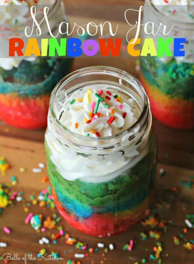 Mason Jar Rainbow Cake - Belle of the Kitchen featured on Kenarry: Ideas for the Home