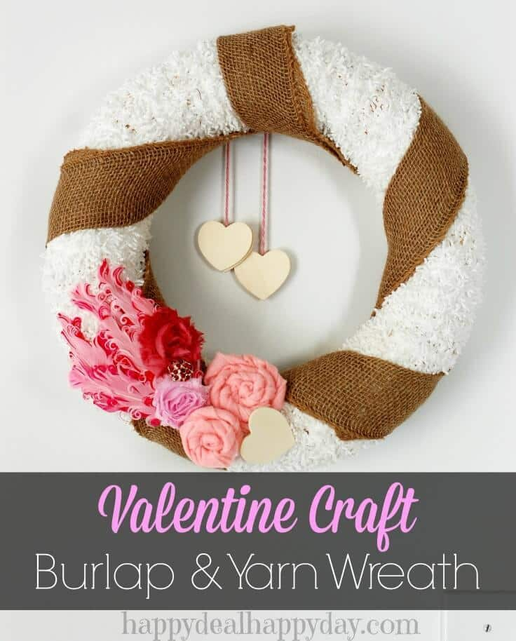 Valentine Crafts, Burlap & Yarn Wreath - Happy Deal, Happy Day featured on Kenarry: Ideas for the Home