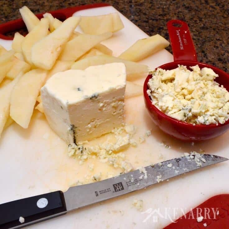 pear slices and crumbled blue cheese