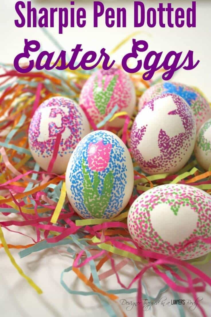 Easy Dotted Sharpie Easter Eggs - Designer Trapped in a Lawyer's Body featured on Ideas for the Home by Kenarry®