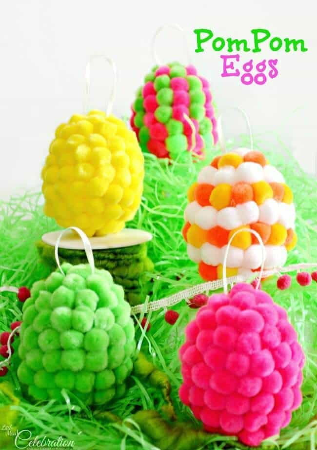 Pom Pom Eggs - Little Miss Celebration featured on Ideas for the Home by Kenarry™