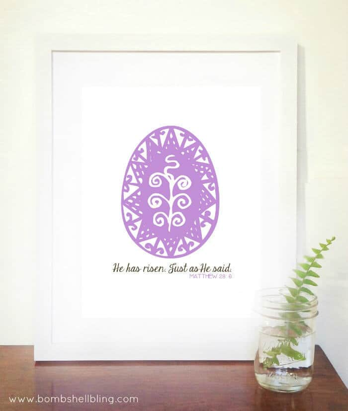 """""""He Has Risen"""" FREE Easter Printable - Bombshell Bling featured on Kenarry: Ideas for the Home"""