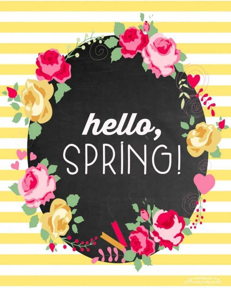 """""""Hello, Spring!"""" Free Printable - Happiness is Homemade featured on Kenarry: Ideas for the Home"""