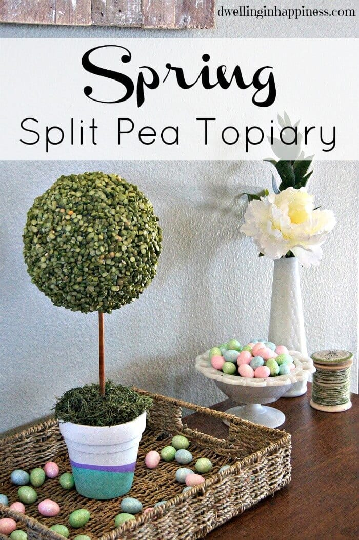 This Spring Split Pea Topiary would be a great centerpiece for your Easter home decor or brunch. Easy tutorial from Dwelling in Happiness for Kenarry: Ideas for the Home