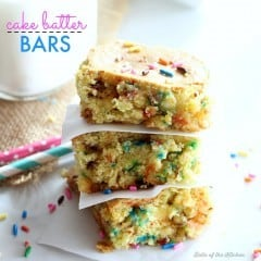 These Cake Batter Bars are chock full of sprinkles and cake batter flavor! They are easy to make with the help of a cake mix.