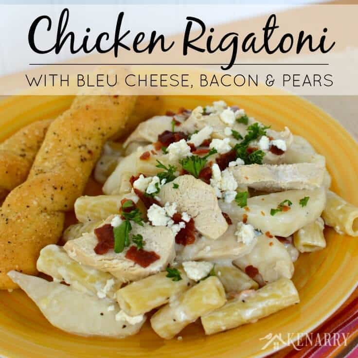 Chicken rigatoni with bleu cheese, bacon, and pears